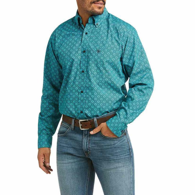 Ariat Poriel Blue Print Fitted Long Sleeve Buttondown Men's Shirt