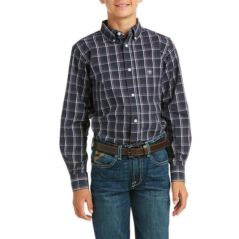 Ariat Mylo Navy Plaid Long Sleeve Buttondown Boy's Shirt