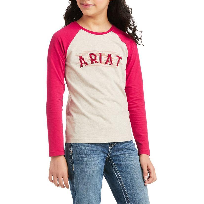 Ariat Real Aztec Pink White Logo Girl's Longsleeve Tee