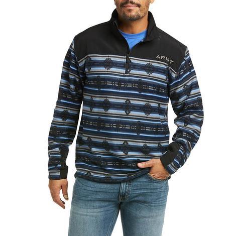Ariat Basis Navy Southwest Print Quarter Zip Men's Pullover