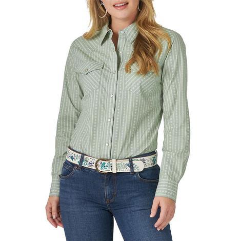 Wrangler Light Green Print Long Sleeve Snap Women's Shirt