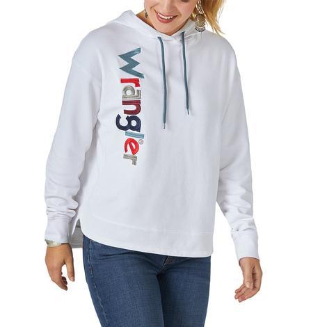 Wrangler White Embroidered Logo Women's Pullover Hoodie