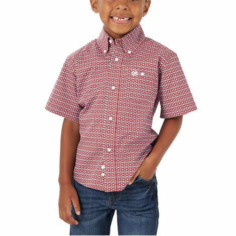 Wrangler Red Print Short Sleeve Buttondown Boy's Shirt
