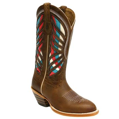 Ariat Gentry Red Teal White Laser Cut Ladies Boot