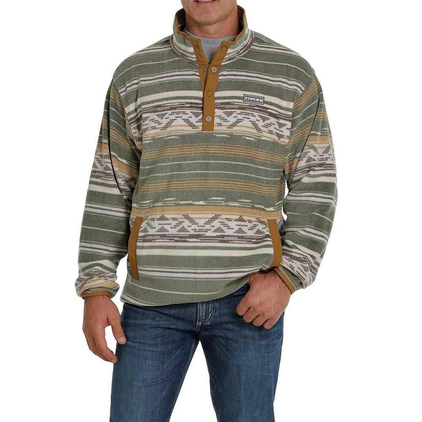 Cinch Olive Tan Printed Fleece Men's Pullover