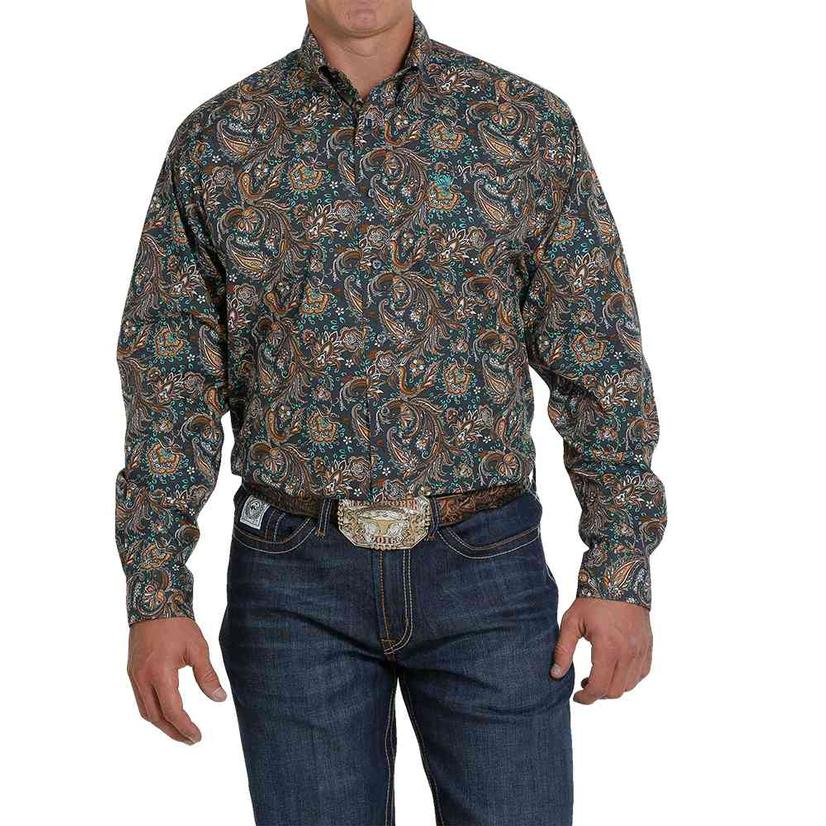 Cinch Charcoal Paisley Long Sleeve Buttondown Men's Shirt