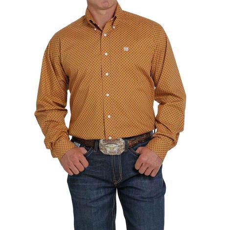 Cinch Rust Brown Print Stretch Long Sleeve Buttondown Men's Shirt