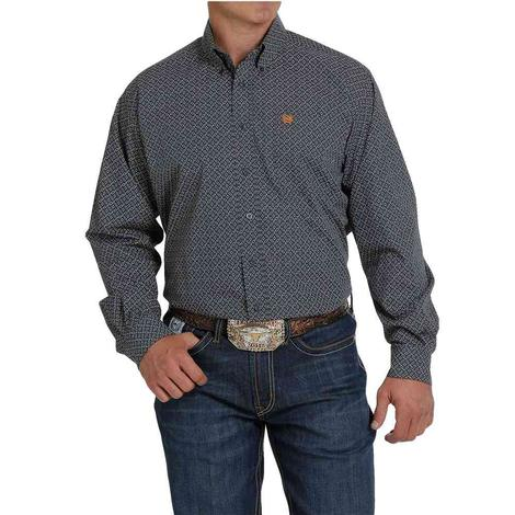 Cinch Charcoal Print Long Sleeve Buttondown Men's Shirt