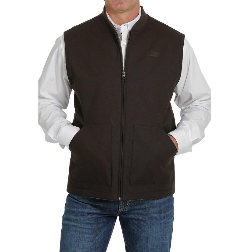 Cinch Brown Wool Canvas Reversible Men's Vest