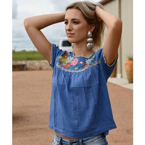 Ladies Blue Embroidered THML Top