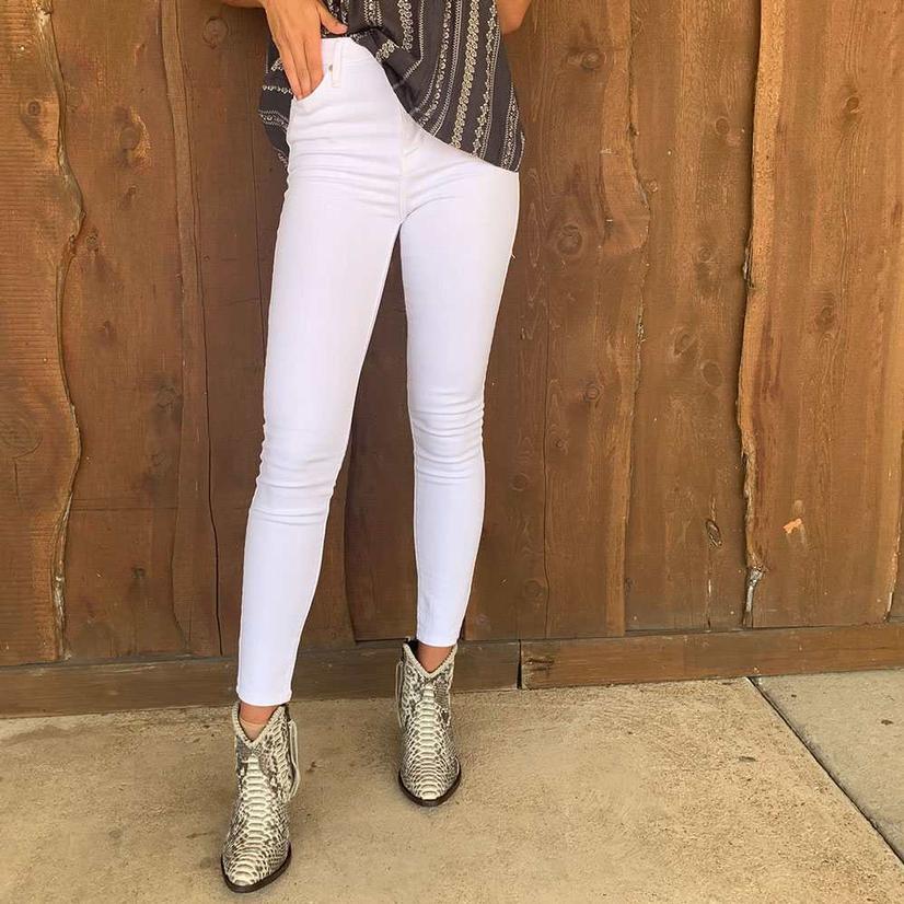 Just Black Denim High Rise White Skinny Jean