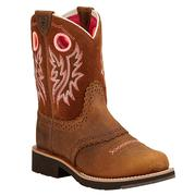 Ariat Fatbaby Brown and Pink Saddle Kid Boot