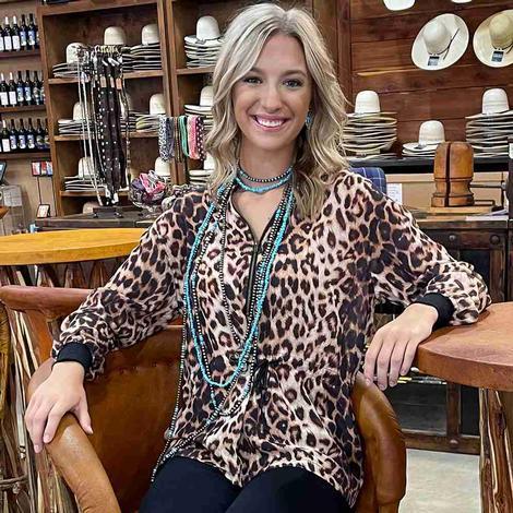 Ladies Leopard Double D Blouse
