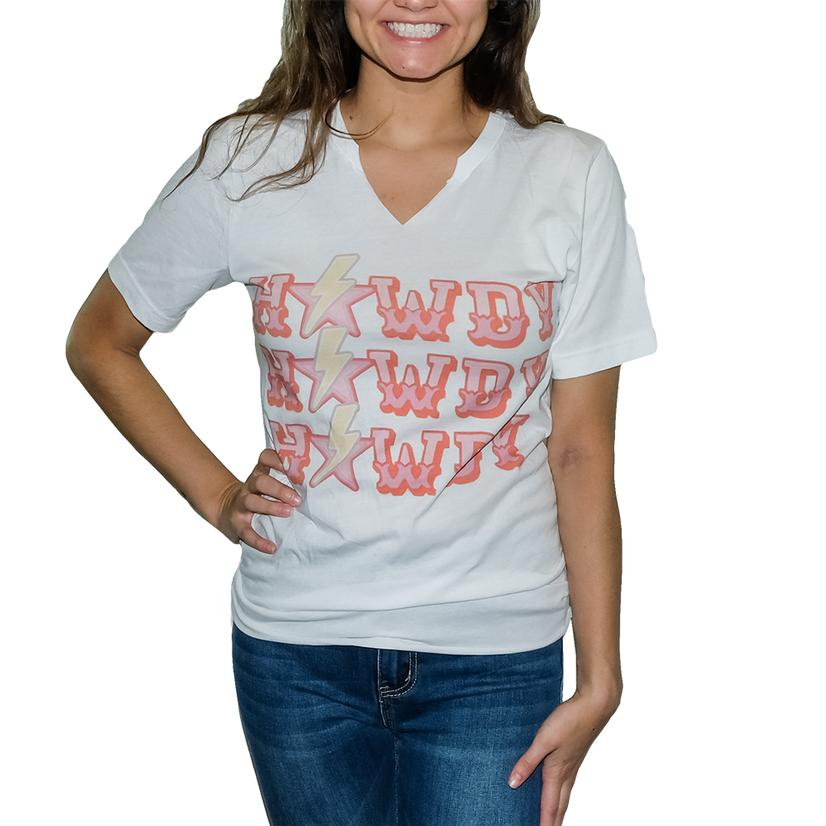 Gina's Tees Pink And White Howdy Tee