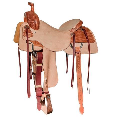 STT Custom Quarter Chestnut Basketweave Tool Natural Roughout Ranch Cutter Saddle