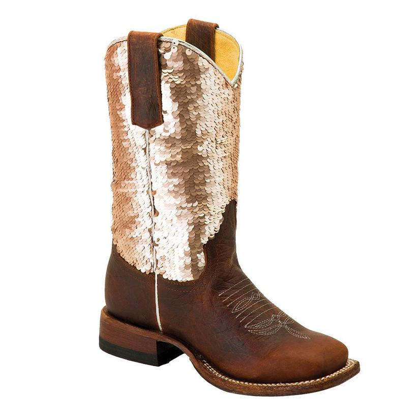 Macie Bean Distressed Bison Gold Sequin Top Girl's Boots