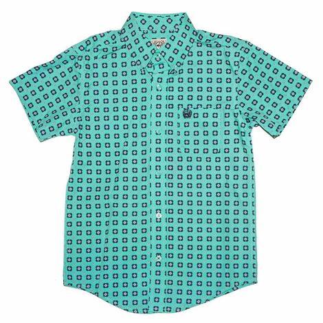 Cinch Turquoise Print Short Sleeve Buttondown Boy's Shirt
