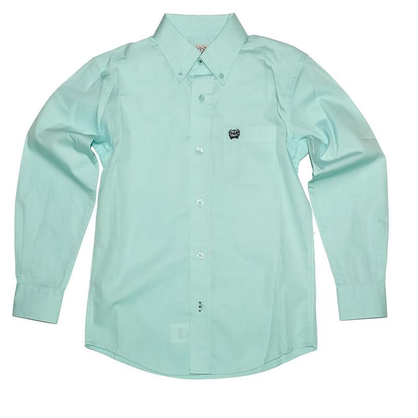 Cinch Solid Green Long Sleeve Buttondown Boy's Shirt
