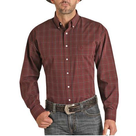 Panhandle Maroon Plaid Long Sleeve Buttondown Men's Shirt
