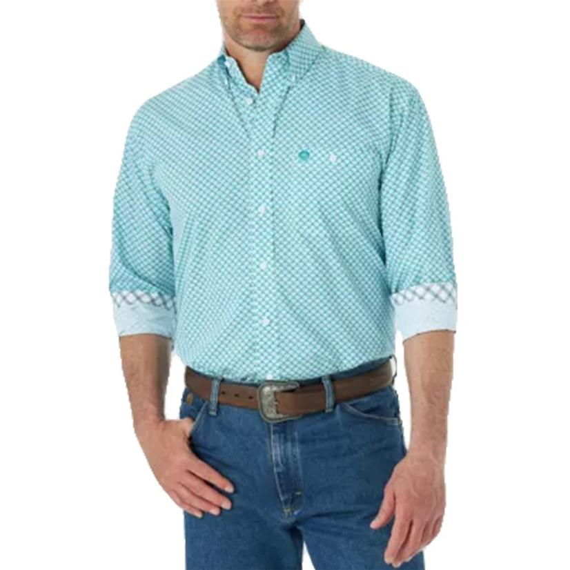 Wrangler Emerald White Print Long Sleeve Buttondown Men's Shirt