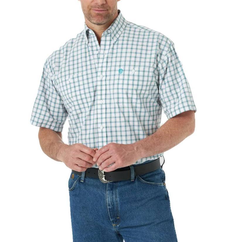 Wrangler George Strait Short Sleeve Buttondown White Emerald Men's Shirt
