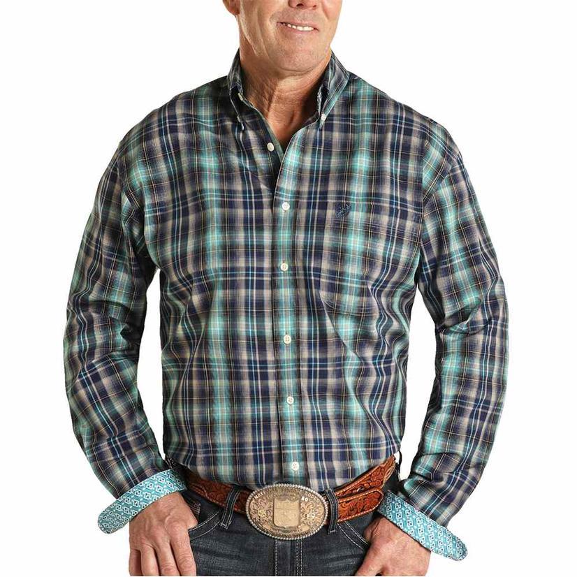 Panhandle Navy Turquoise Plaid Long Sleeve Buttondown Men's Shirt