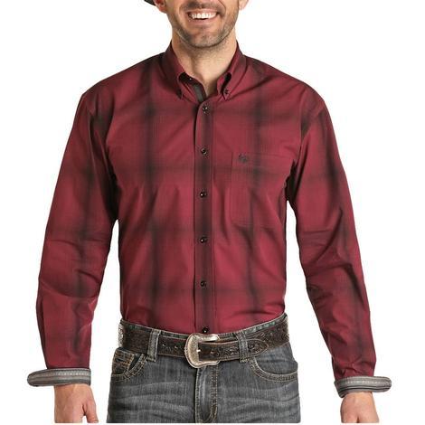 Panhandle Maroon Ombre  Plaid Long Sleeve Buttondown Men's Shirt