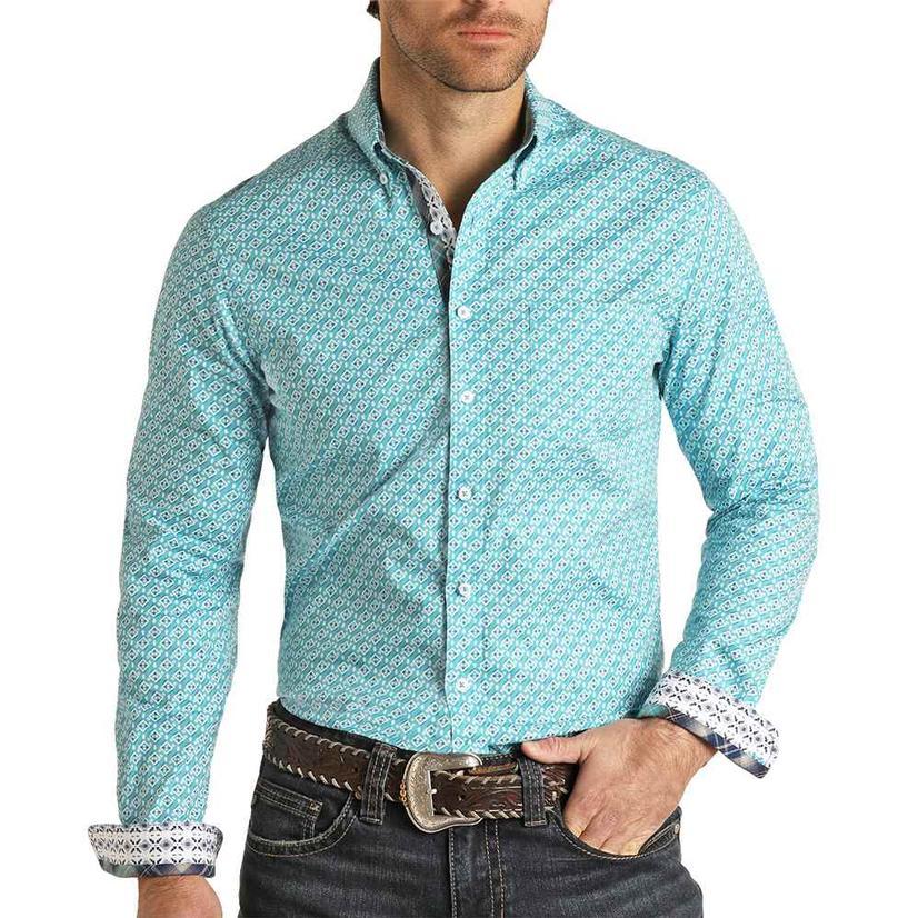Panhandle Slim Fit Turquoise Print Long Sleeve Buttondown Men's Shirt