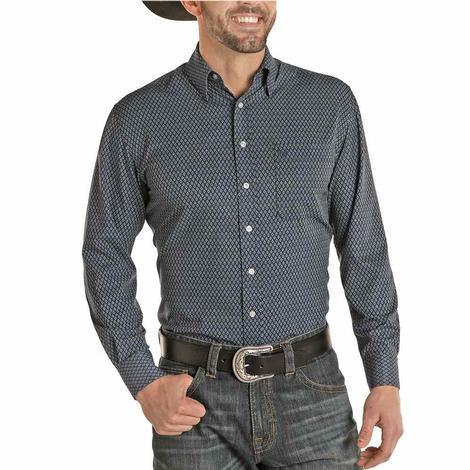 Panhandle Navy Print Performance Long Sleeve Buttondown Men's Shirt