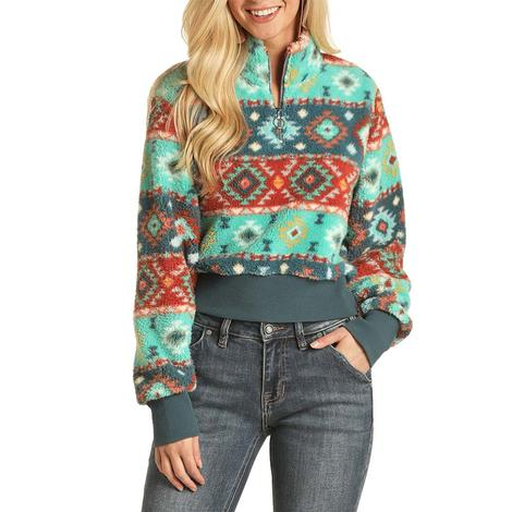 Rock and Roll Cowgirl Turquoise Aztec Print Women's Pullover
