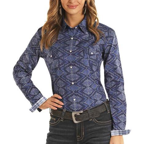 Panhandle Navy Aztec Print Long Sleeve Snap Women's Shirt