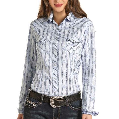 Panhandle Powder Blue Aztec Print Long Sleeve Snap Women's Shirt