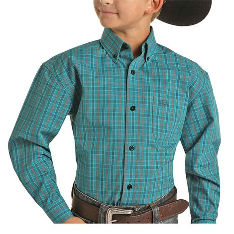 Panhandle Teal Plaid Long Sleeve Buttondown Boy's Shirt