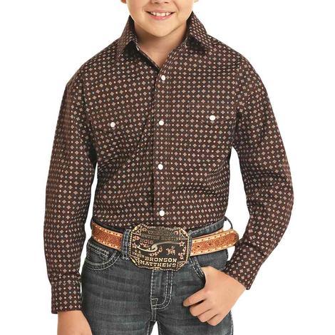 Panhandle Brown Print Long Sleeve Snap Boy's Shirt