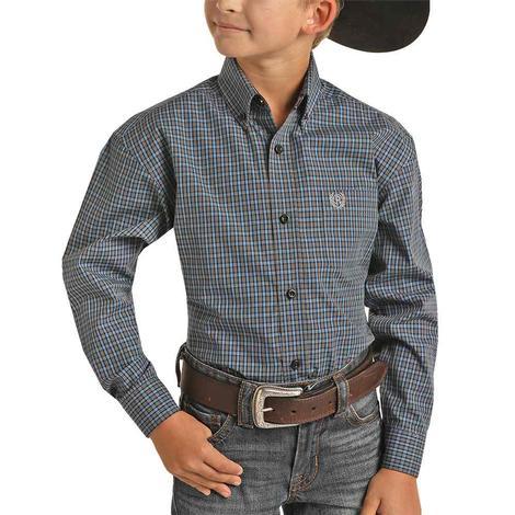 Panhandle Grey Blue Checkered Long Sleeve Buttondown Boy's Shirt