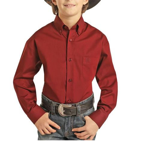 Panhandle Solid Copper Stretch Long Sleeve Buttondown Boy's Shirt