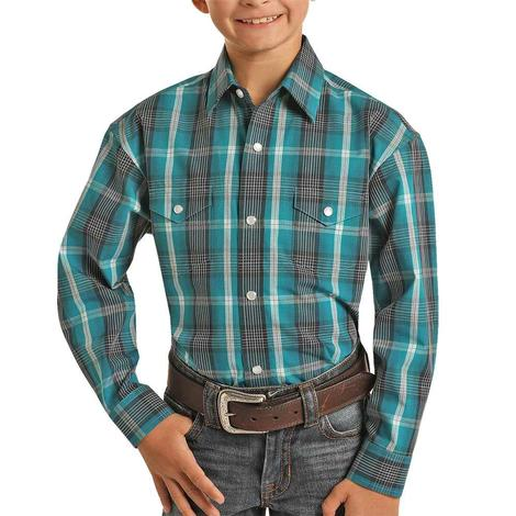 Panhandle Teal Plaid Long Sleeve Snap Boy's Shirt