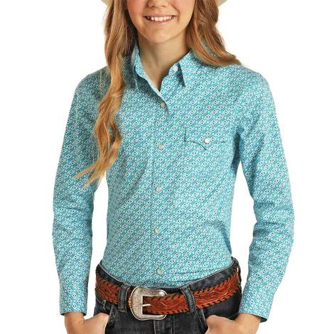 Panhandle Turquoise Print Long Sleeve Snap Girl's Shirt