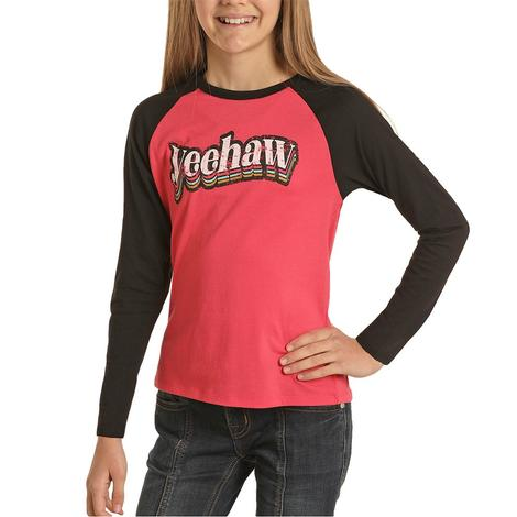 Rock and Roll Cowgirl Hot Pink Yeehaw Girl's Baseball Tee