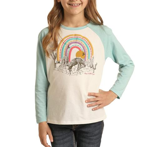 Rock and Roll Cowgirl Western Vibes Graphic Girl's Baseball Tee