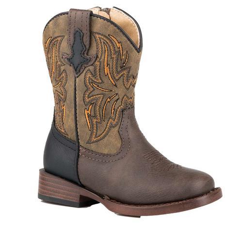 Roper Dalton Brown Tan Toddler Boots