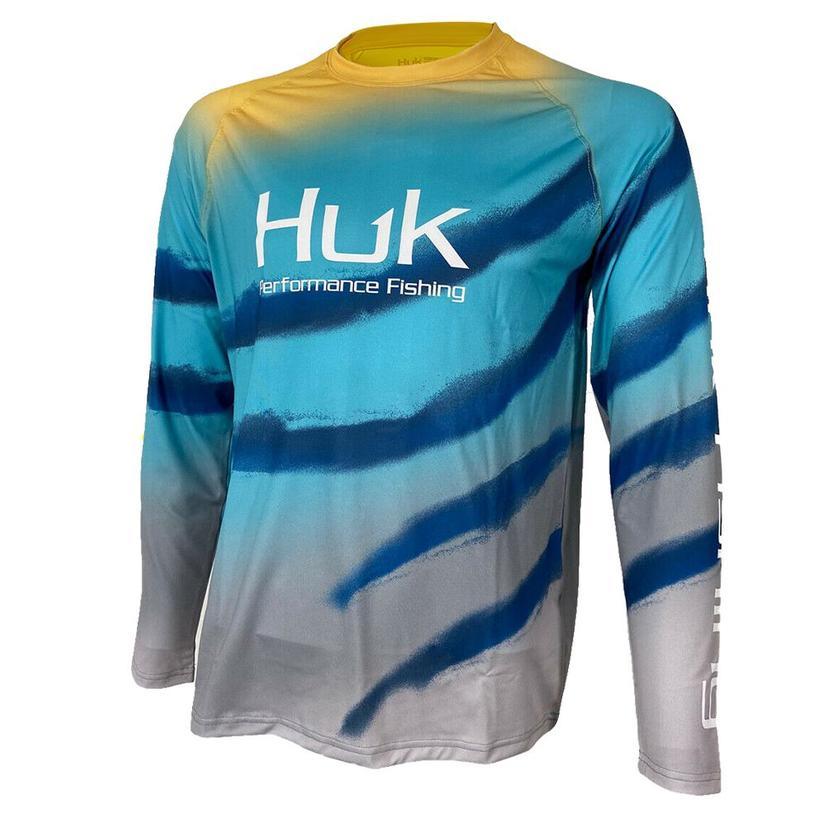 Huk Flare Fade Blue Radiance Long Sleeve Men's Shirt