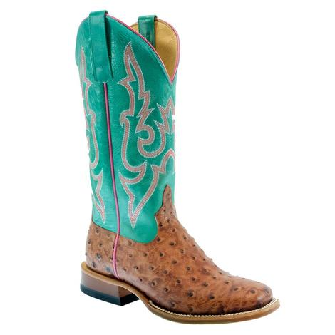 Macie Bean Cognac Full Quill Ostrich Turquoise Top Women's Boots