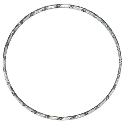 Silver Bangle With Stripe Detail