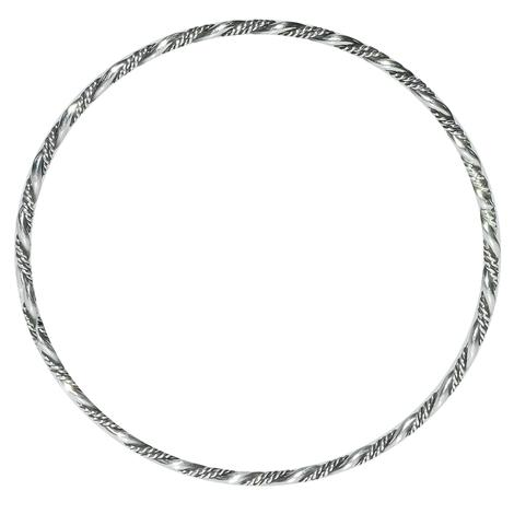 Silver Bangle With Rope Detail
