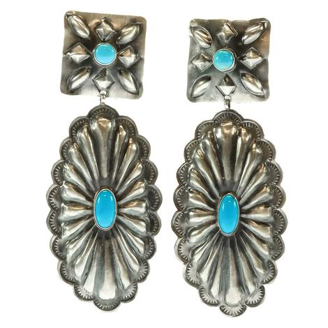 Silver and Turquoise Concho Dangle Earrings