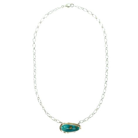 Turquoise and Silver 16in Necklace