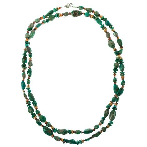 Turquoise and Spiny Oyster Stone Necklace