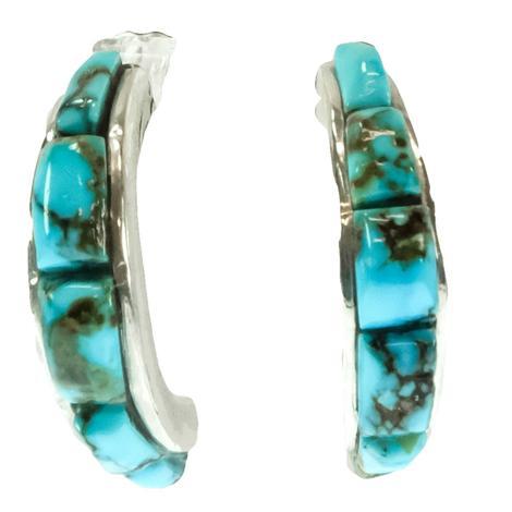Turquoise Half Hoop Earrings