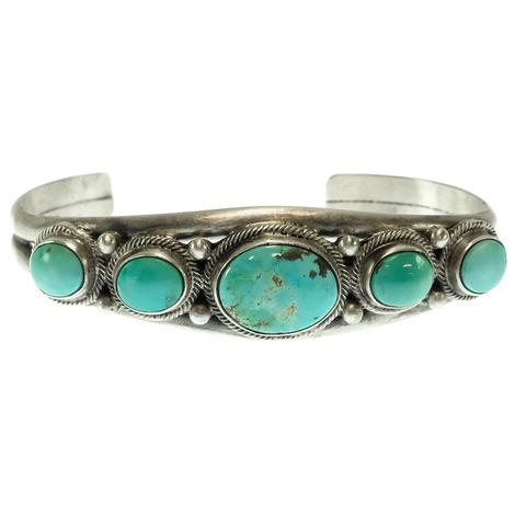 Silver and Five Stone Turquoise Cuff